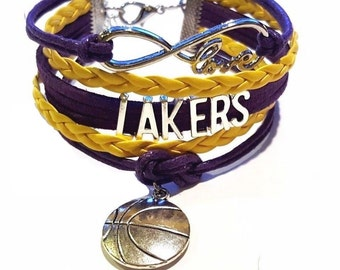 LA Lakers Bracelet - Lakers Jewelry, Charm Bracelet- Perfect Stocking Stuffer!!!
