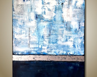 Blue Abstract Art Original Painting  Large Texture Art on Canvas Contemporary Art Office Decor