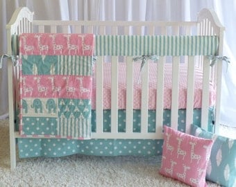 Giraffes on Pink and Teal, modern nursery, safari, elephants, giraffe,  girl nursery, crib bedding, crib set, fitted sheet, customer bedding