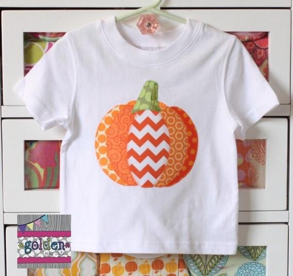 Halloween Fabric Pieced Pumpkin Boy Tee, Boy Shirt, Onesie