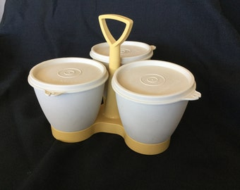 Vintage Tupperware Condiment Container Caddy in Mustard Yellow and Beige