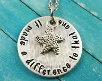 Starfish Necklace, Social Worker Necklace, It Made A Difference to That One, Social Worker Gift, Special Education Necklace, Starfish Story