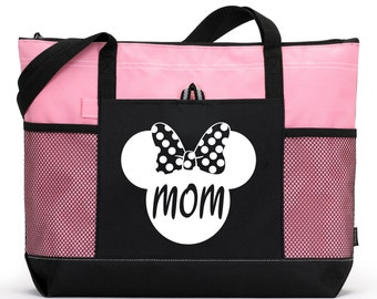 MOM Bag, Heavy tote bag  zippered main compartment,  Heavy canvas, Carryall, Disney Bag, Minnie  Bag, mickey tote