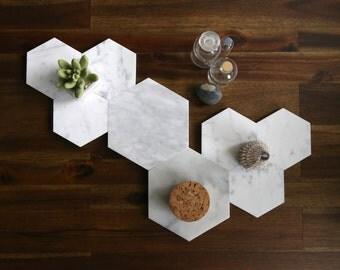 Marble Hexagon Coaster and Trivet Set (6 Coasters, 2 Trivets)