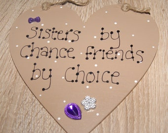Heart Plaque, Sisters Plaque, Sister Gift, Sister Sign, Girlie Decor, Girlie Decor, Plaque, Heart, Sign, Purple Plaque.