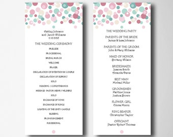 Blush And Turquoise Wedding Program Printable Ceremony Colorful Card Instant Download