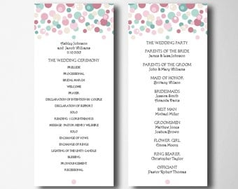 Blush and turquoise wedding program Printable wedding ceremony program Colorful wedding program card Instant download Program template T6