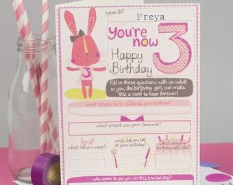 3rd birthday Card. Personalized 3rd birthday card for her. Girl's third birthday. Milestone birthday. Card to keep.