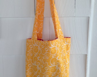 Yellow and Red Reversible Tote