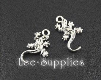 20pcs Antique Silver Alloy Gecko Charms A1483