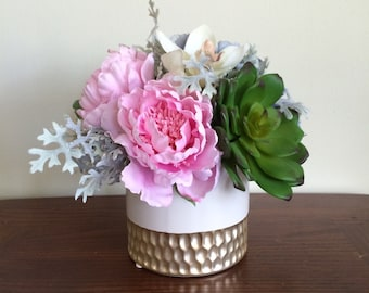 Faux succulent, peonies, hydrangea, and orchid centerpiece in white and gold vase