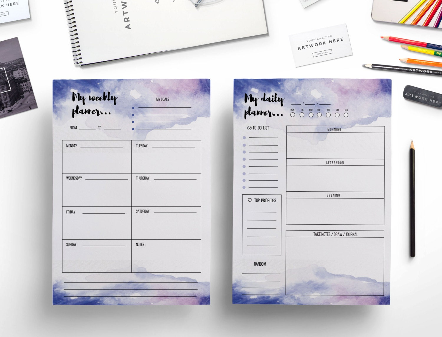 Daily Calendar Design : Creative watercolor weekly planner daily