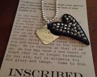 Rhinestone heart and hand stamped Ezekiel 36:26 silver necklace