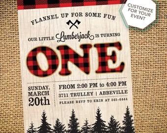 First Birthday Lumberjack Party Invitation