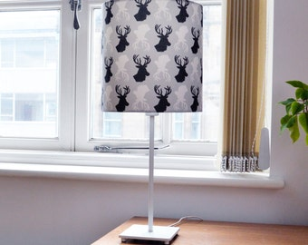 Stag Print Lampshade - animal pattern - deer print - stag pattern design - black, white, grey - modern home lighting - modern lampshade