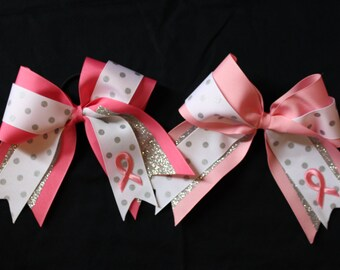 Breast Cancer Awareness Pink Cheer Bow