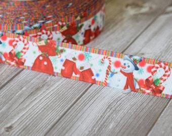 "Snowman ribbon - Christmas ribbon - 7/8"" Grosgrain ribbon - Candy cane ribbon - Holiday ribbon - Christmas bow DIY - Christmas crafts"
