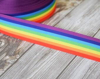 """Rainbow grosgrain - Pray for orlando - Pride ribbon - 7/8"""" ribbon - Grosgrain ribbon - 3 or 5 yards - Bright ribbon - Rainbow crafts DIY"""