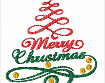 Merry Christmas Swirls -A Machine Embroidery Design for Christmas
