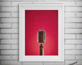 Microphone Print, Retro Microphone, Music Wall Art, Music Poster, Music Gifts, DJ Poster, Music Art, Home Decor, Music Decor, Printable Art