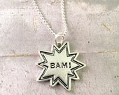 SALE! Superhero necklace, charm necklace, BAM necklace, supermom necklace, comic book, Wonder woman necklace , super mom gift