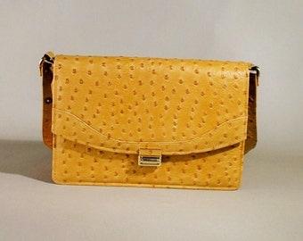 Original 30ties Cognac Colored Vintage Ostrich Imitation Leather Bag, Shoulderbag, Office Bag