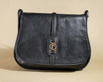 Vintage Dark Blue Leather Bag, Shoulderbag, Office Bag, Saddle Bag