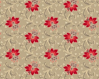 Red is the New Neutral, by Faye Burgos for Marcus Fabrics, Red Flowers on Neutral Taupe, 100% Cotton, by the Yard or Half Yard, 2124-0190