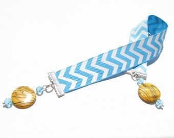 Blue Chevron Bookmark - Beaded Ribbon Bookmark - Gifts for Readers - Large Bookmark - Hostess Gift - Gift Ideas - Teacher Gift