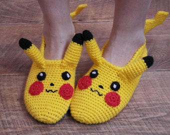 Personalized Pikachu pokemon Go Handmade TO ORDER Children gift Slippers, Knitted Slippers for girl, house shoes,Socks for boy ,gift idea,