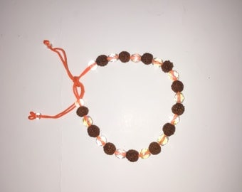 Rudraksha and  crystal bracelet