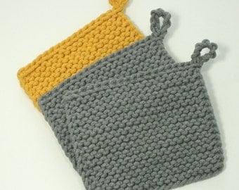 Hand knitted potholders, knit cotton potholders, cotton cord potholders, Hand Knit Trivets