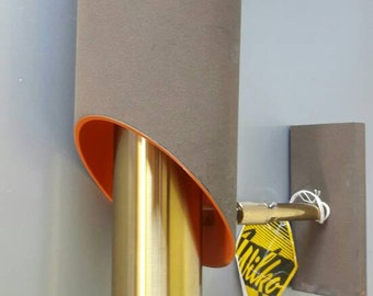 Vintage Wall Lamp Brass Chocolate Brown and Oranje '60