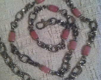 Vintage Pink and Silver Chain Belt