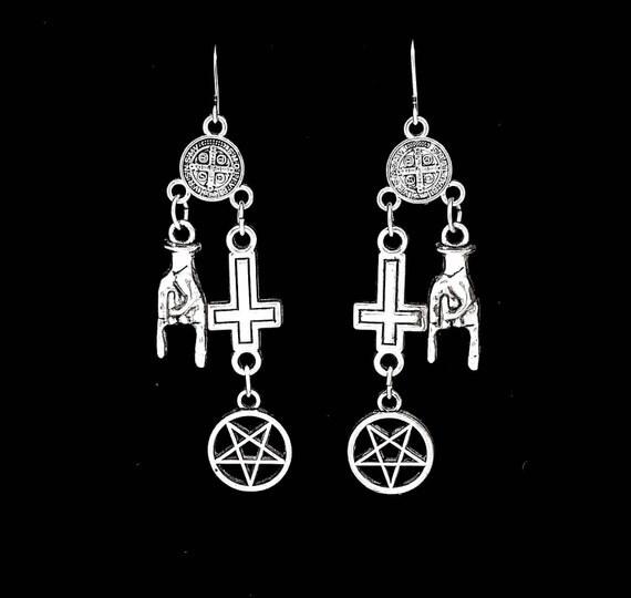 METALHEAD, inverted cross earrings, pentagram, rosary, black sabbath, satanic symbols, mortuary drape, goth, inverted pentagram, devil horns