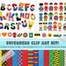 Superhero ClipArt Kit - Alphabet - Superhero Characters - Digital Paper - Icons - Great for invitations, decorations, scrapbooking & more!!