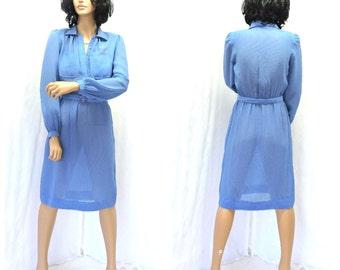 Vintage 70s sheer blue secretary dress S 1970s Leslie Faye baby blue shirt dress retro office dress SunnyBohoVintage