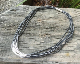 Metallic Silver Leather Necklace