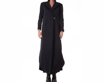 Long Black Coat, Black Wool Coat, Long Wool Coat, Winter Cape Coat, Black Womens Coat, Maxi Coat, Black Wool Jacket, Asymmetric Coat