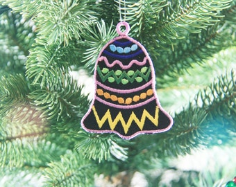 African Ornament, African Inspired Bell Christmas Ornament, African Christmas Ornament, Christmas Bell Ornament, FSL Bell,