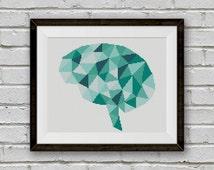 BOGO FREE! Geometric Brain Cross Stitch Pattern, Human Brain x-Stitch Chart, Human Anatomy Modern Decor, PDF Instant Download #025-15-3