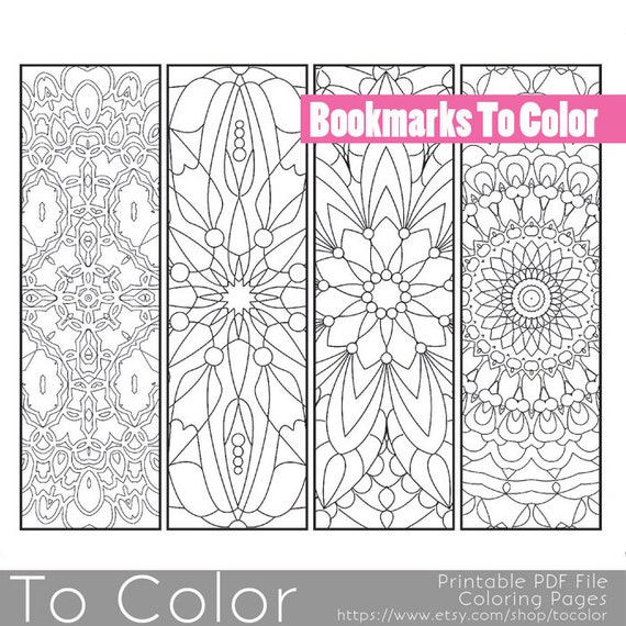 Printable Pattern Coloring Page Bookmarks, PDF / JPG, Instant Download ...