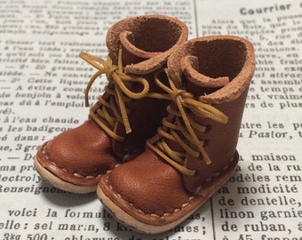 Real leather: miniature lace-up boots [ORANGE BROWN] (for blythe)
