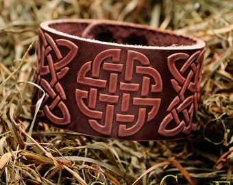 Leather Bracelet leather Cuff Wristband Celtic Knotwork  Viking bracelet