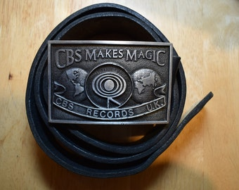Bergamot Brass Works Belt buckle CBS Records UK. 198? . Rare.Darien Wisconsin.Made in USA.Very good condition.