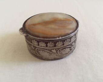 Vintage Agate Stone Top Ornate Silver Tone Container