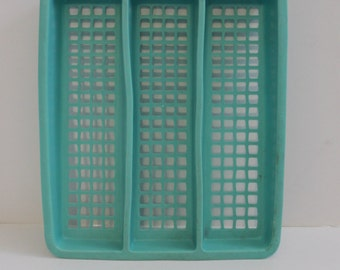 Amazing Vintage Aqua-Turquoise Utensil Holder-Deka Plastic- Crafting-Storage-Mod-McM