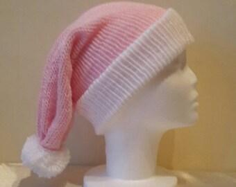 Pink Santa Hat - Womens Pink Santa Hat - Alternative Santa Hat - Women's Knitted Santa Hat - by MakeLikeAGinger.