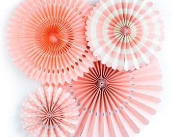 Coral paper Pinwheel Fans. Set of 4.  Coral pink rosettes. Coral party pinwheels.  Coral pink party decor. Coral pink pinwheel fan Backdrop.