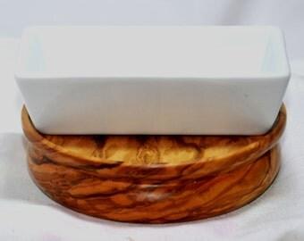 China dish on Olive wood board